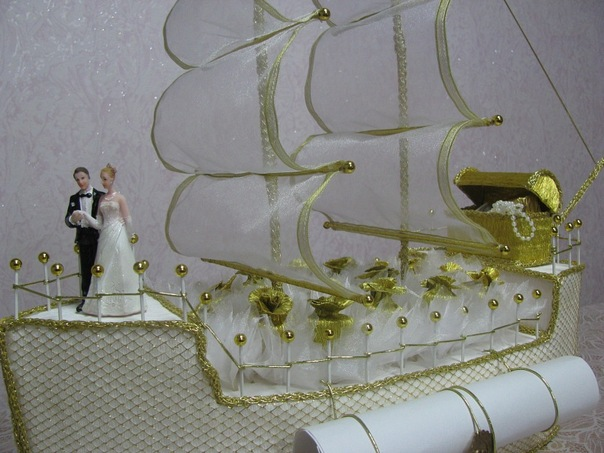 Корабль на свадьбу из конфет своими руками пошаговое фото