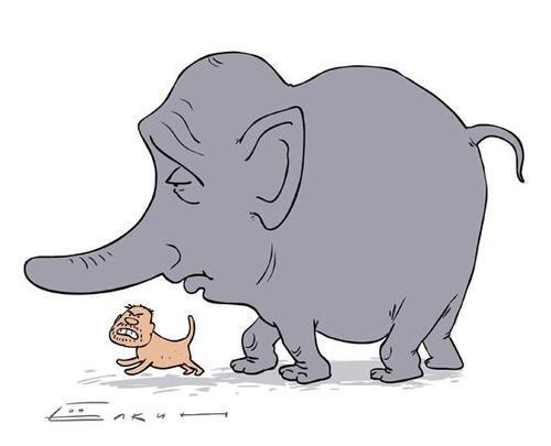Моська лает на слона (500x405, 16Kb)