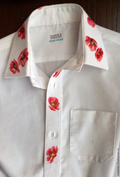 Маки на рубашке. Отличная идея росписи воротника (5) (473x700, 245Kb)
