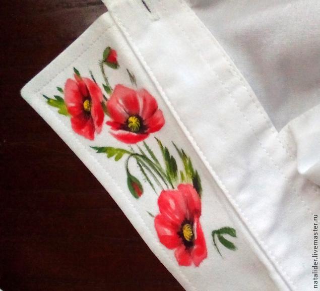 Маки на рубашке. Отличная идея росписи воротника (7) (635x577, 192Kb)
