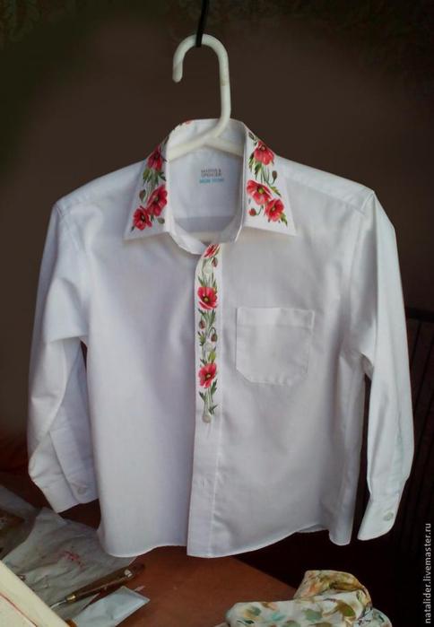 Маки на рубашке. Отличная идея росписи воротника (10) (484x700, 201Kb)
