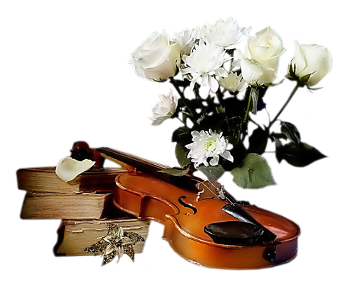 скрипка книги цветы (500x409, 240Kb)