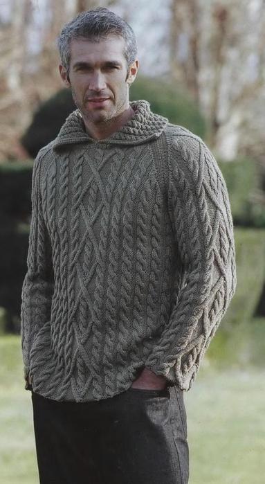 Два мужских пуловера с косами (2) (383x699, 233Kb)