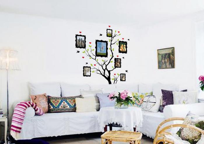 трафареты для стен, эксклюзивный дизайн интерьера, декор стен, оформление стен, рисунки на стенах/3978851_whitepaintwalldecalsideaswithpictureframe (700x496, 37Kb)