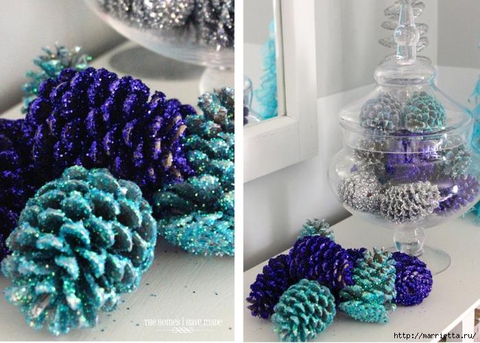 Шишки в блестках для новогоднего декора в интерьере (5) (700x500, 321Kb)