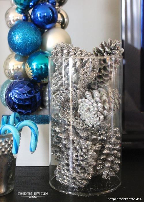 Шишки в блестках для новогоднего декора в интерьере (8) (500x700, 327Kb)
