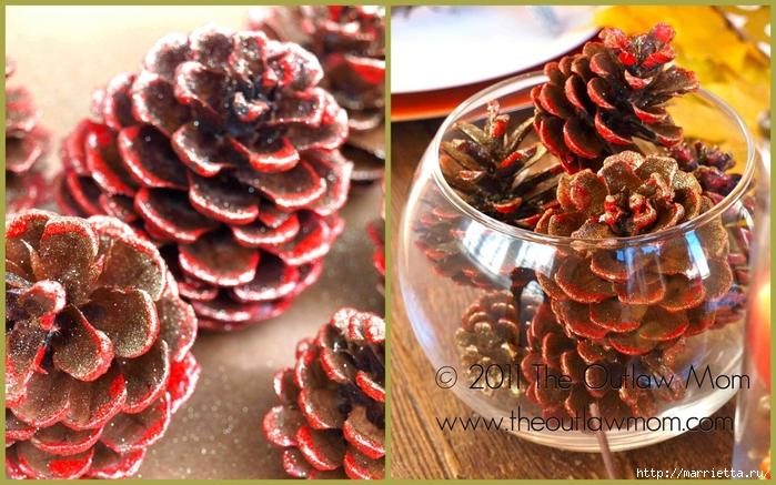 Шишки в блестках для новогоднего декора в интерьере (19) (700x437, 316Kb)
