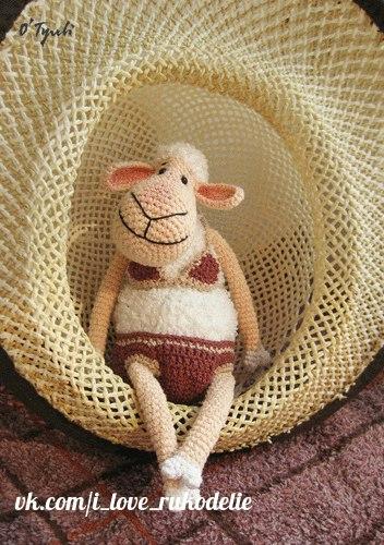 вязаная овечка Хильда, как связать овечку хильду, схема вязания овечки Хильды, как сделать символ 2015 года своими руками,  как связать овечку символ 2015 года,  Хьюго Пьюго новогодняя овца,