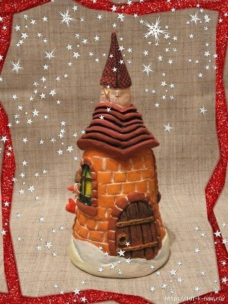 новогодний домик из соленого теста, как сделать новогодний домик из соленого теста, как слепить новогодний домик из соленого теста, новогодние сувениры из соленого теста,