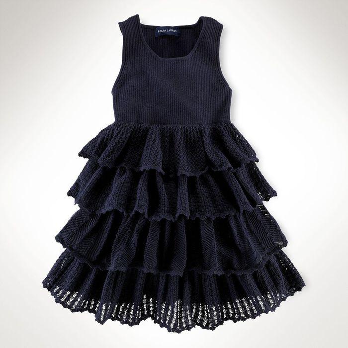 платье с оборками для девочки спицами на осинке.