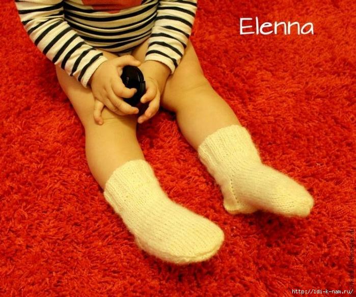 носочки для малыша, как связать носочки на двух спицах, вязаные носочки для малыша,  вяжем носки Хьюго Пьюго,