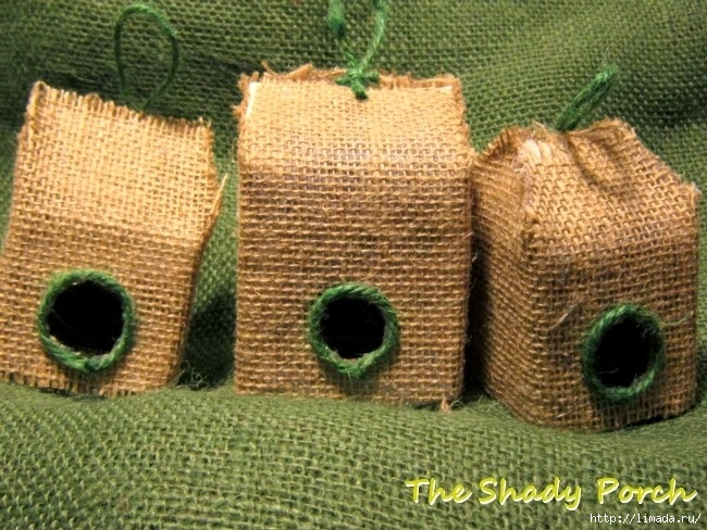 burlap covered birdhouses (650x488, 286Kb)