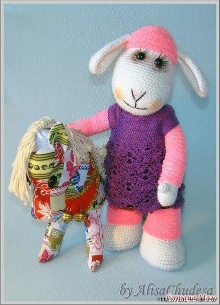 вязаная овечка, как связать овечку, схема вязания овечки, вязаный символ 2015 года. как связать символ 2015 года, как сделать символ 2015 года своими руками, Хьюго Пьюго вязаная овца,