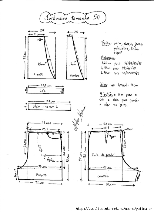 Выкройка комбинезона из старых джинсов