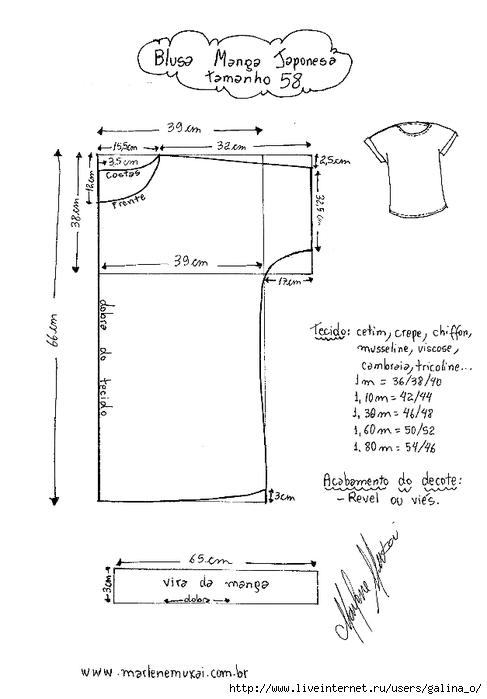 Выкройки трикотажных блузок с цельнокроеным рукавом