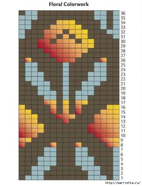 Вяжем спицами ажурный СНУД с ЖАККАРДОМ (4) (487x637, 147Kb)