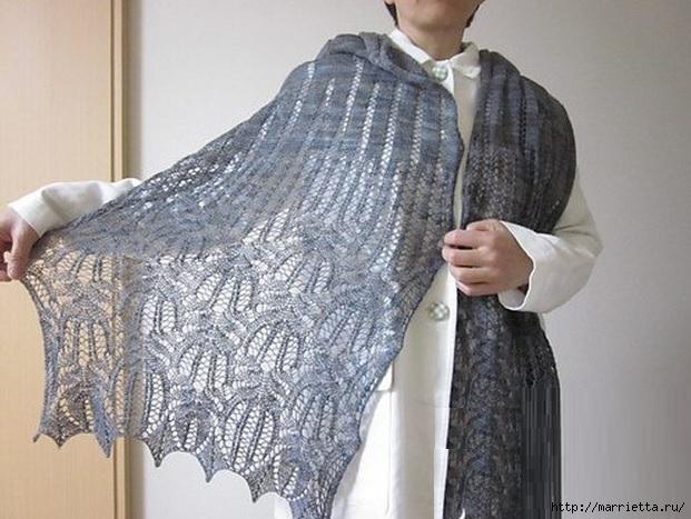 Ажурный шарф спицами. Схема