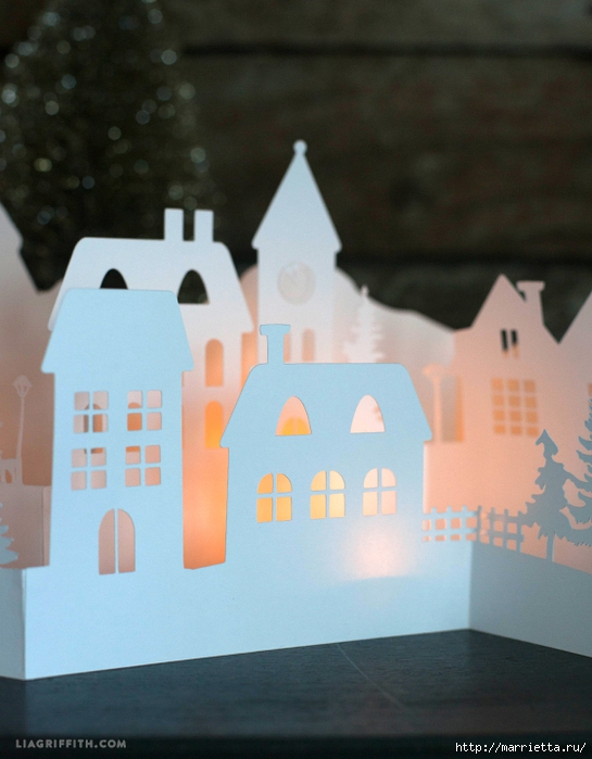 Зимняя деревня из бумаги. Шаблоны для распечатки (1) (545x700, 238Kb)