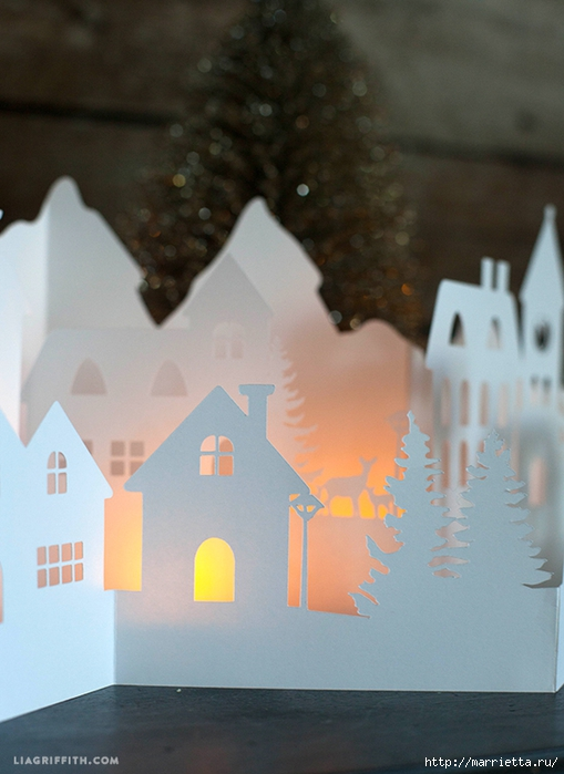 Зимняя деревня из бумаги. Шаблоны для распечатки (2) (509x700, 221Kb)