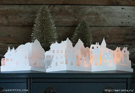 Зимняя деревня из бумаги. Шаблоны для распечатки (3) (560x384, 145Kb)