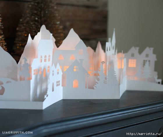 Зимняя деревня из бумаги. Шаблоны для распечатки (4) (560x471, 170Kb)