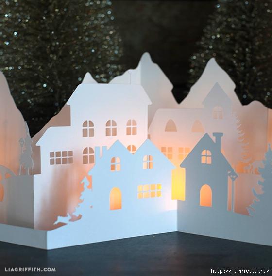 Зимняя деревня из бумаги. Шаблоны для распечатки (5) (560x570, 196Kb)