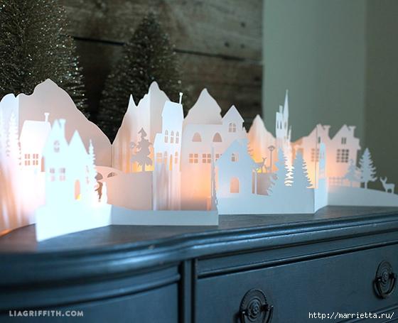 Зимняя деревня из бумаги. Шаблоны для распечатки (6) (560x455, 180Kb)