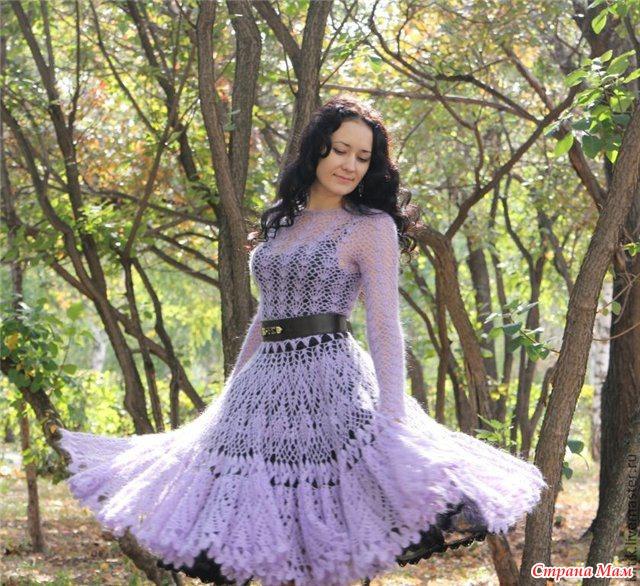 Платье из мохера спицами схема фото 600