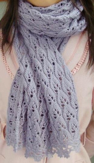 Ажурный шарф с кружевным краем