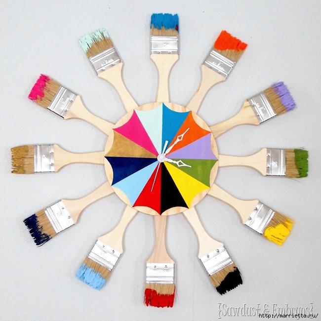 Креативные часы из кисточек и разноцветной краски (3) (650x650, 205Kb)