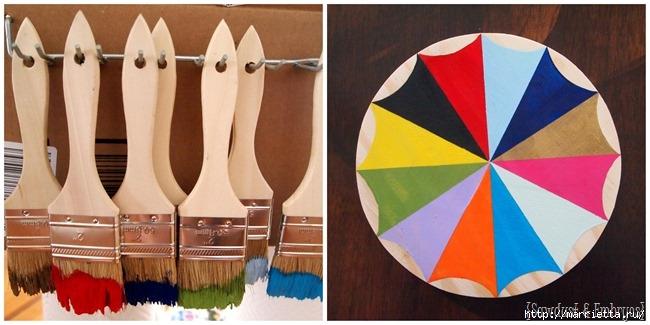 Креативные часы из кисточек и разноцветной краски (4) (650x325, 140Kb)