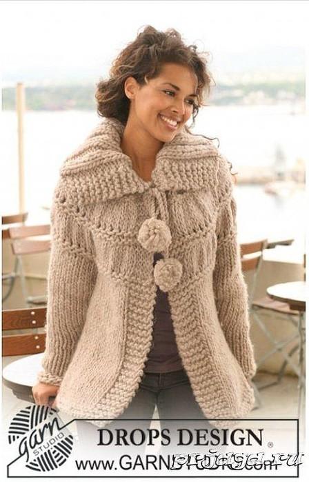 пальто вязаное спицами - Самое