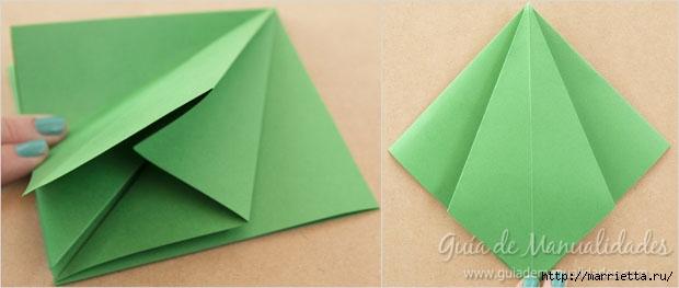 Новогодние елочки из бумаги в технике оригами (6) (620x263, 71Kb)