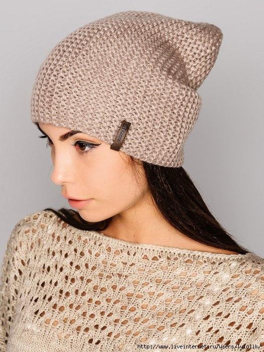 шапка спицами(без описания)