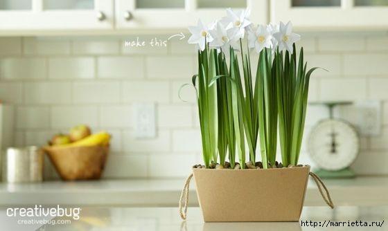НАРЦИССЫ из бумаги в интерьере. Шаблоны цветов (15) (560x334, 73Kb)