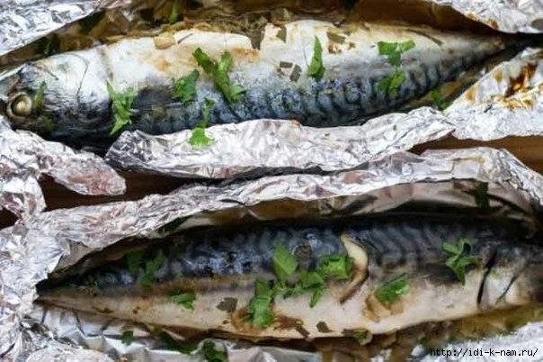 скумбрия запеченая в фольге. как приготовить скумбрию, рецепт скумбрии запеченой в фольге, как вкусно приготовить скумбрию, Скумбрия в фольге Хьюго Пьюго,