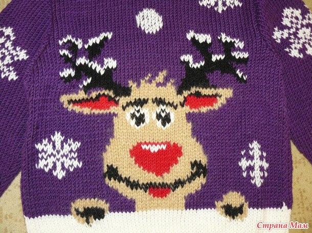 мебельный салон вышить оленя на вязанном свитере предназначен