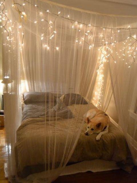 Fairy lights bedroom ideas