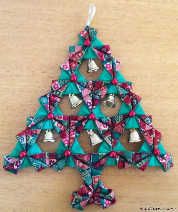 текстильная подвеска елочка в технике оригами (2) (585x700, 305Kb)
