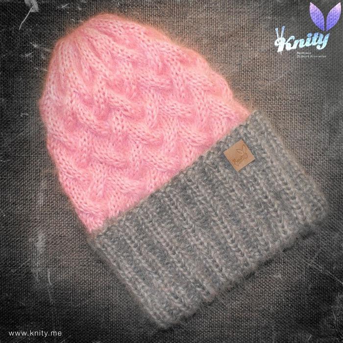 Вязании спицами шапки из мохера 437