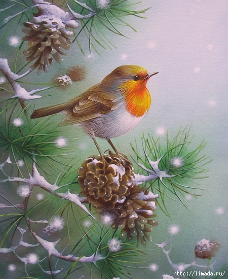 Fir, falling snow (450x550, 224Kb)