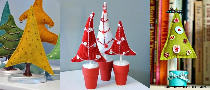 christmas decorating ideas - Felt christmas tree, otted Button Trees pattern (700x300, 184Kb)