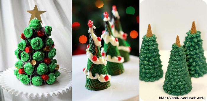 Christmas tree out of ice cream cones and cupcakes (700x343, 183Kb)