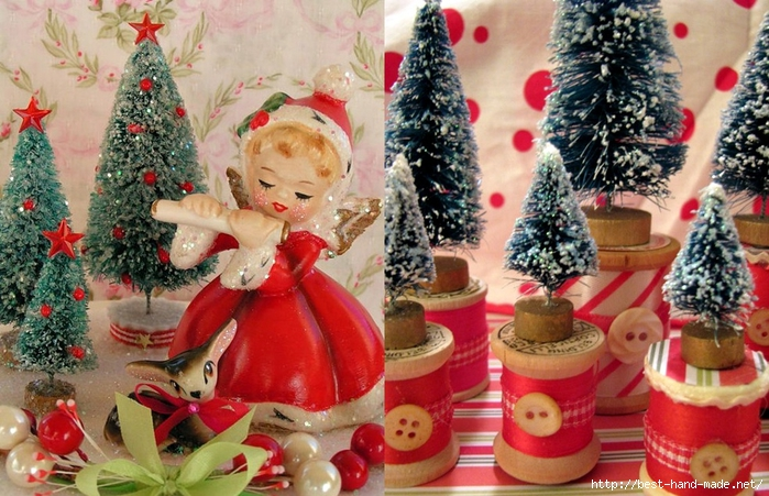 Christmas tree themes - bottle trees on wooden spools,Vintage Napco Ange  (700x451, 317Kb)