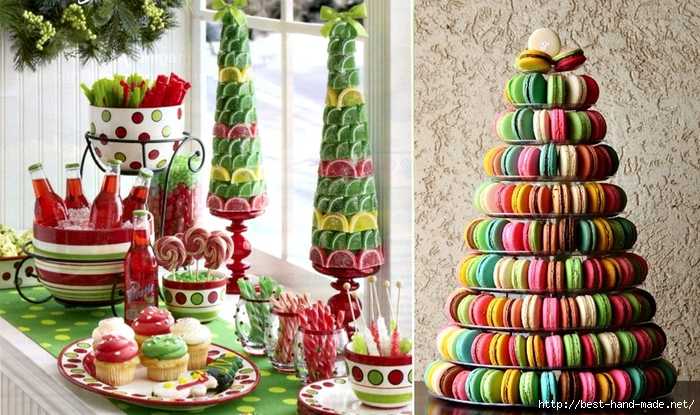 Christmas trees made out of treats - macarons christmas tree, sweets christmas tree  (700x415, 312Kb)