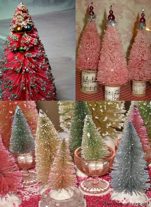 homemade christmas decorations Christmas tree artificial - Bottle brush Christmas trees   (512x700, 366Kb)