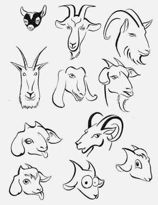 голова козы рисунок (309x400, 71Kb)