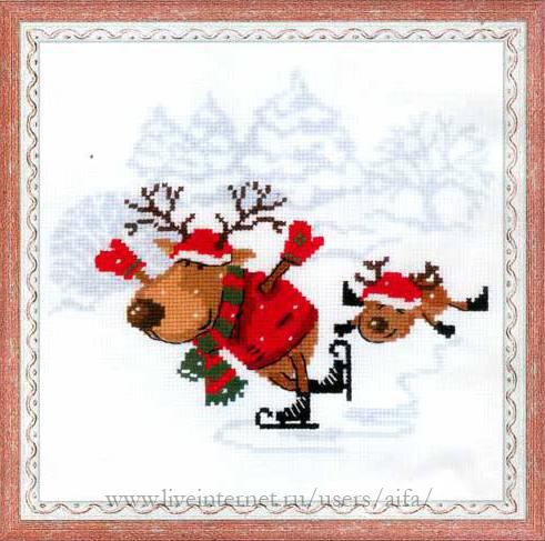 Новогодняя вышивка олени