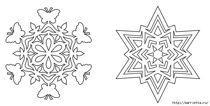 шаблоны снежинок из бумаги (14) (699x352, 121Kb)