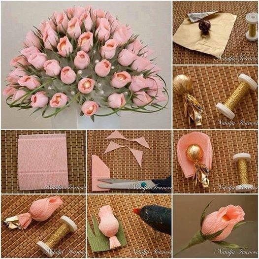 Цветы из бумаги с конфетами своими руками пошагово